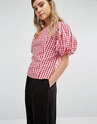 Style Mafia Gingham Blouse Red