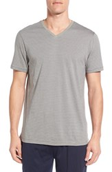 Daniel Buchler Men's Pima Cotton And Modal V Neck T Shirt Charcoal Navy