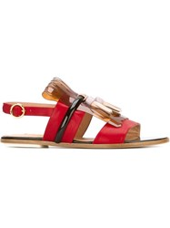 Rupert Sanderson Embellished Gold Tone Buckled Sandals Red