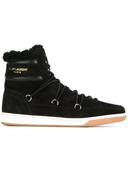 Saint Laurent Shearling Lined Hi Top Sneakers Black