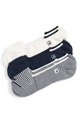 Men's Sperry 'Skimmers Feed' Socks Blue Assorted 3 Pack Navy White