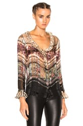 Etro Ruffle Blouse In Neutrals Abstract Neutrals Abstract