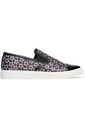Mother Of Pearl Gatson Patent Leather Trimmed Printed Satin Slip On Sneakers Blue