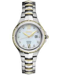 Seiko Women's Solar Coutura Diamond Accent Two Tone Stainless Steel Bracelet Watch 29Mm Sut308