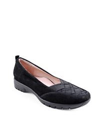 Taryn Rose Alick Woven Elastic And Suede Flats Black