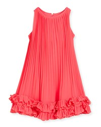 Lili Gaufrette Sleeveless Pleated Chiffon Shift Dress Watermelon
