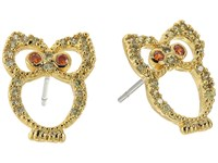 Betsey Johnson Green Owl Cz Stud Earrings Green Earring