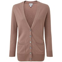 Pure Collection Alexa Cashmere Boyfriend Cardigan Mushroom