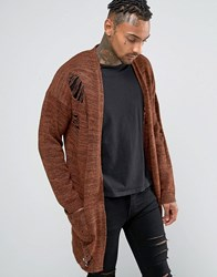 Asos Longline Cardigan With Laddering Brown