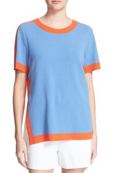 Women's Tory Burch 'Celeste' Contrast Stripe Knit Top Blue Dusk