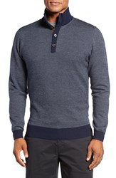 Bobby Jones Men's Birdseye Quarter Button Wool Sweater Summer Navy