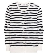 Barrie Striped Cashmere Cardigan White