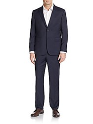 Saks Fifth Avenue Slim Fit Wool And Silk Pinstripe Two Button Suit Navy