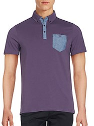 Ben Sherman Mixed Media Jersey Polo Shirt Dark Purple