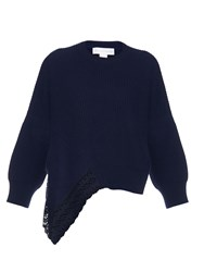 Stella Mccartney Lace Insert Wool Silk And Cashmere Blend Sweater