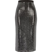 River Island Womens Metallic Silver Pencil Skirt