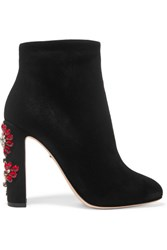 Dolce And Gabbana Crystal Embellished Suede Ankle Boots Black