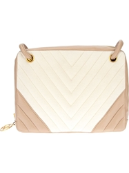 Chanel Vintage Bi Colour Quilted Bag Nude And Neutrals