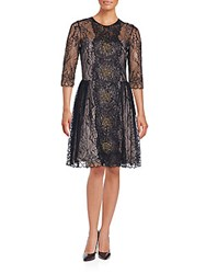 Nha Khanh Floral Lace A Line Dress Black Gold