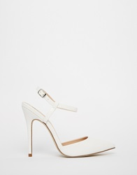River Island White Leather Ankle Strap Heeled Court Shoes