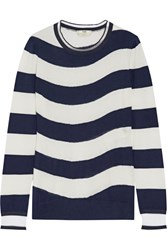 Fendi Striped Cashmere Blend Sweater Navy