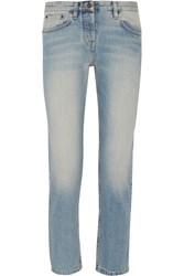 The Row Ashland Cropped Mid Rise Straight Leg Jeans Light Denim