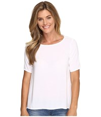 Allen Allen 1 2 Sleeve High Low Crew White Women's Short Sleeve Pullover