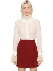 Ermanno Scervino Ruffled Lace And Crepe De Chine Shirt