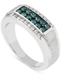 Macy's Men's Diamond 1 Ct. T.W. Ring In 10K White Gold Blue