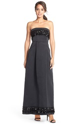 Tracy Reese Embellished Strapless Gown Black