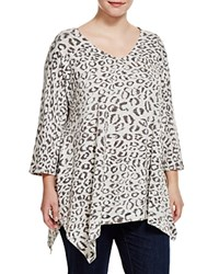 Nally And Millie Plus Leopard Print Tunic Heather Grey
