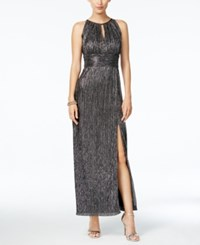 R And M Richards Metallic Knit Halter Gown Silver Black