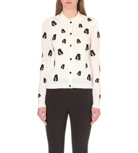 Alice Olivia Stacey Embroidered Wool Blend Cardigan Off White Multi
