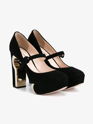 Nicholas Kirkwood Suede Mary Jane Heeled Pumps With Gold Heel Black Leopard White