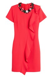 Msgm Wool Dress With Flower Embellishment Red