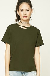 Forever 21 Ripped Collar Tee