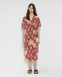 Simone Rocha Floral Silk Wrap Dress Wine