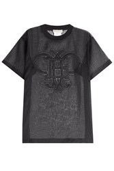 Emilio Pucci Transparent Cotton T Shirt With Embroidered Cut Out Detail Black