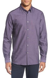 Ted Baker Men's London 'Rugbee' Trim Fit Check Sport Shirt Purple