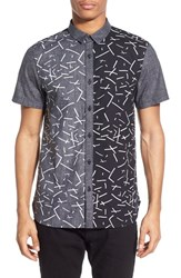 Men's The Rail Regular Fit Abstract Print Colorblock Short Sleeve Woven Shirt