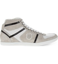 The Kooples Leather And Suede High Top Trainers White