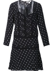 Veronica Beard Semi Sheer Dotted Print Dress Black