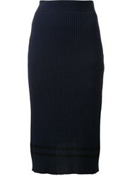 Muveil Ribbed Stripe Hem Skirt Blue