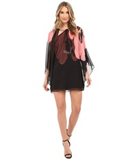 Halston Short Sleeve Round Neck Printed Kaftan With Keyhole Black Parfait Orchid Placement Print Women's Dress