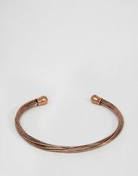 Asos Twisted Bangle In Brushed Copper Copper Brown
