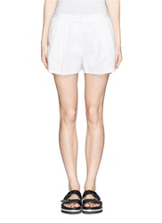 3.1 Phillip Lim Elastic Back Waist Eyelet Lace Shorts White