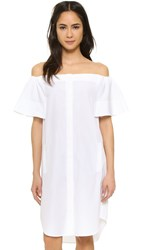 Vince Off Shoulder Shirtdress Off White