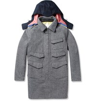 White Mountaineering Patterned Wool Blend And Canvas Hooded Coat