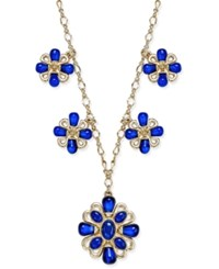 Charter Club Gold Tone Blue Stone Flower Medallion Necklace Only At Macy's