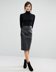 Oasis Faux Leather Pintuck Wrap Pencil Skirt Black